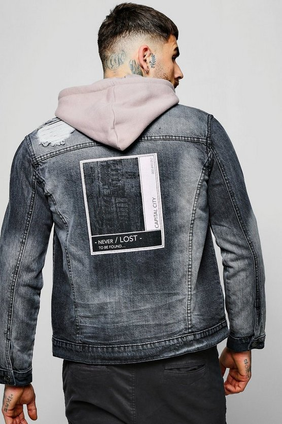 Distressed Denim Jacket With Back Print