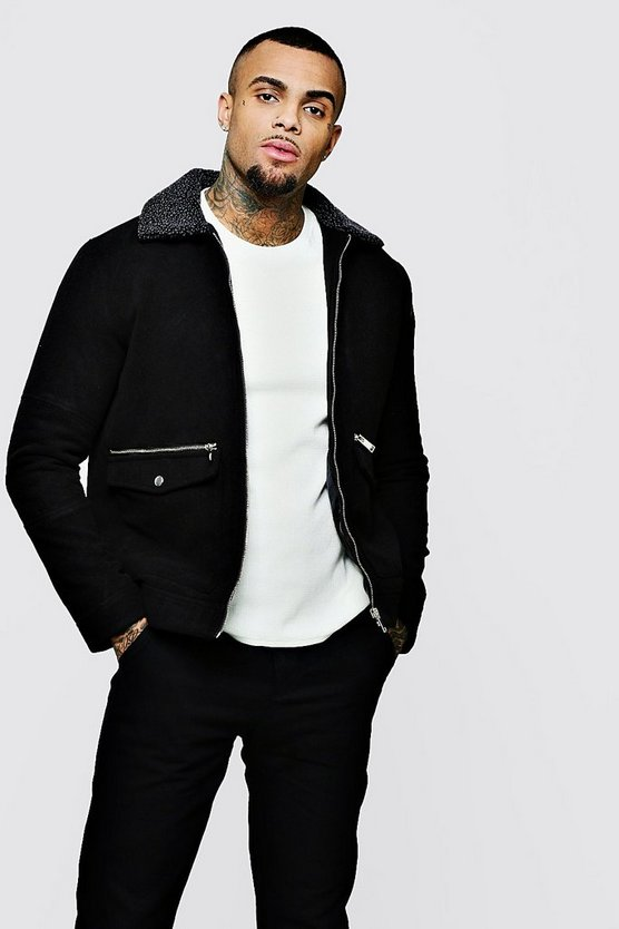 Black Wool Jacket With Sherpa Collar