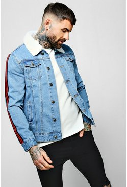 Mens Light blue Borg Collar Denim Jacket with Side Tape