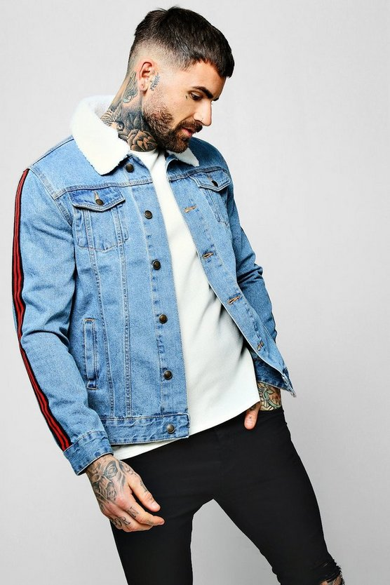 Borg Collar Denim Jacket with Side Tape
