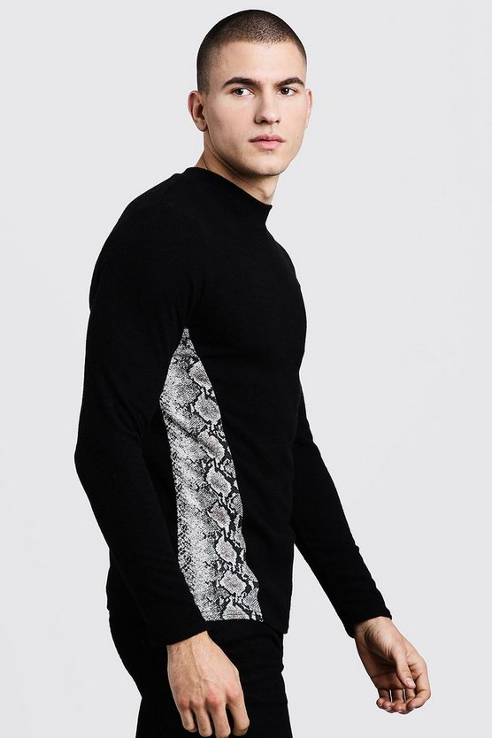 Mens Black Turtle Neck Jumper With Snake Print Side Panel