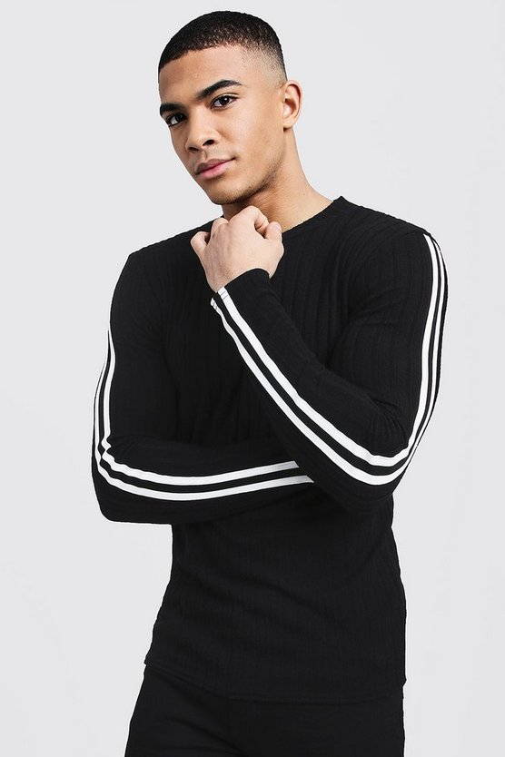 Mens Black Side Tape Ribbed Jumper