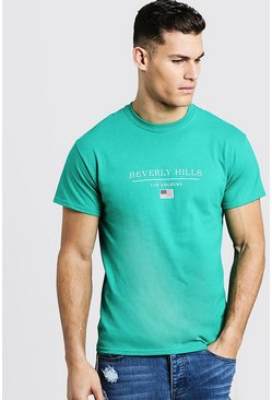 Mens Green Beverly Hills Los Angeles T-Shirt