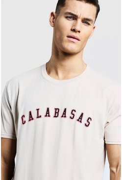 Mens Sand Loose Fit Calabasas High Build Print T-Shirt