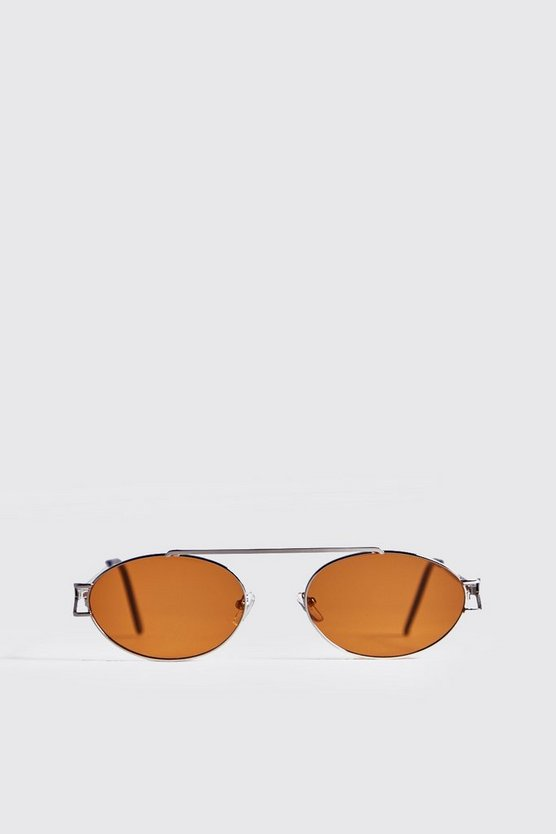 Yellow Lens Round Metal Frame Sunglasses