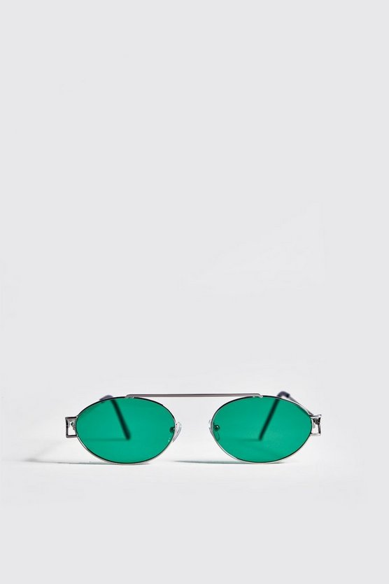 Mens Silver Green Lens Round Metal Frame Sunglasses