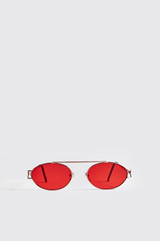 Mens Gold Red Lens Round Metal Frame Sunglasses