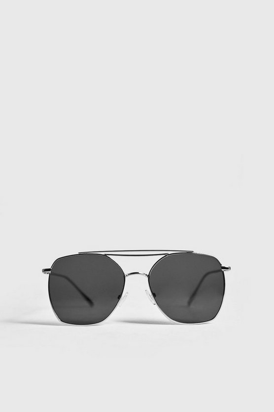 Mens Silver Square Lens Aviator Sunglasses