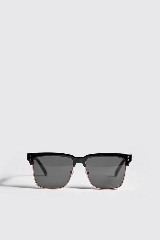 Mens Black Square Lens Retro Sunglasses