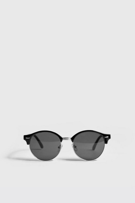 Mens Black Round Lens Retro Sunglasses