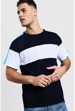 Mens Colour Block Chest And Arm Panel Loose Fit T-Shirt