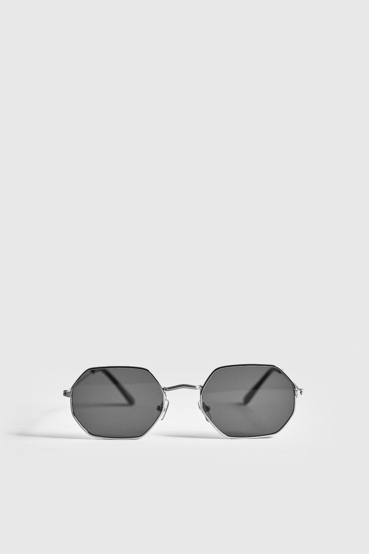 Black Lens Metal Frame Hexagonal Sunglasses
