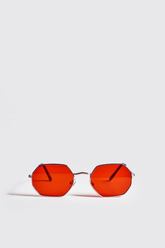 Gold Orange Lens Metal Frame Hexagonal Sunglasses