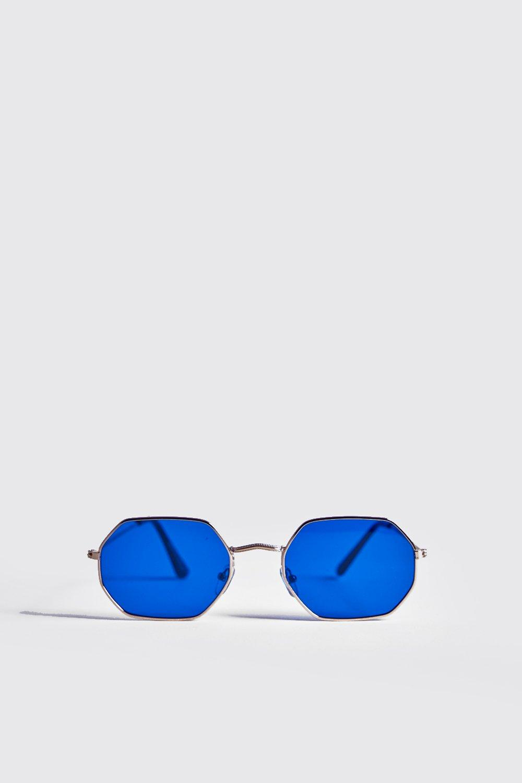Blue Lens Metal Frame Hexagonal Sunglasses
