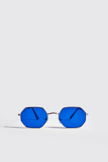 Gold Blue Lens Metal Frame Hexagonal Sunglasses