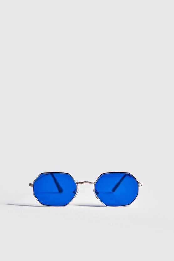 Mens Gold Blue Lens Metal Frame Hexagonal Sunglasses