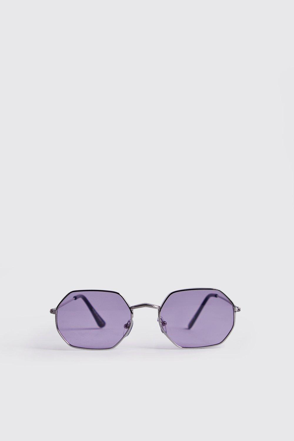 Purple Lens Metal Frame Hexagonal Sunglasses