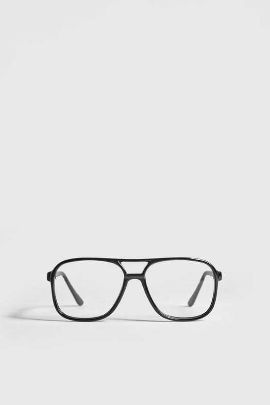 Mens Black Clear Lens Geek Fashion Glasses