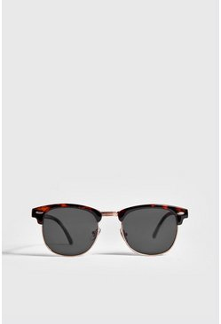Mens Brown Retro Sunglasses With Tortoise Frame