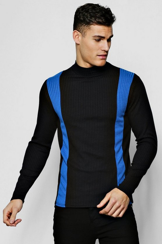 Cobalt Vertical Stripe Ribbed Sweater