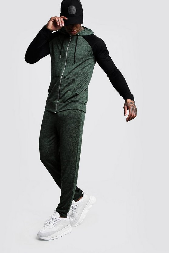 Mens Khaki Hooded Knitted Tracksuit With Side Taping
