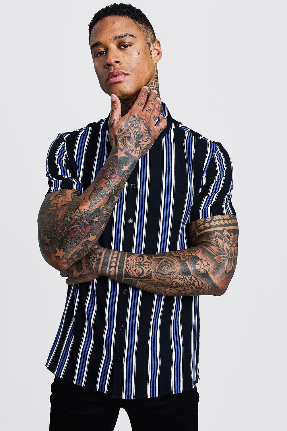 Cobalt Stripe Short Sleeve Shirt