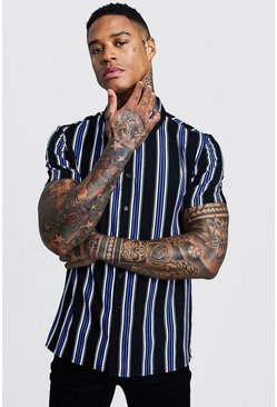Mens Black Cobalt Stripe Short Sleeve Shirt