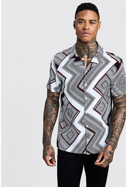 Mens Black Bandana Chevron Print Short Sleeve Shirt