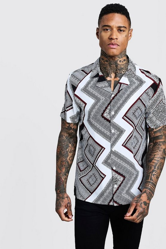 Bandana Chevron Print Short Sleeve Shirt