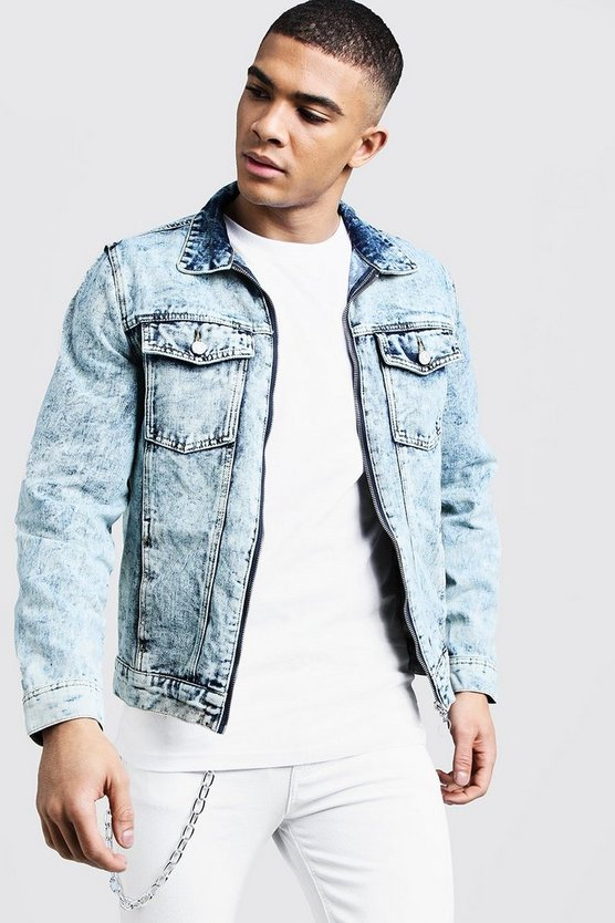 Mens Mid blue Acid Wash Zip Through Denim Jacket