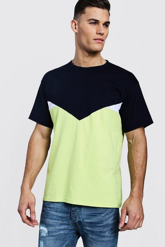 Mens Lime Chevron Spliced Loose Fit T-Shirt
