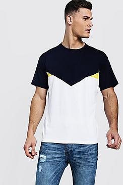 Chevron Spliced Loose Fit T-Shirt