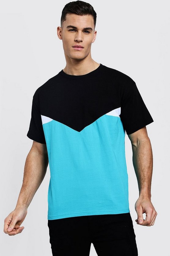 Mens Blue Chevron Spliced T-Shirt