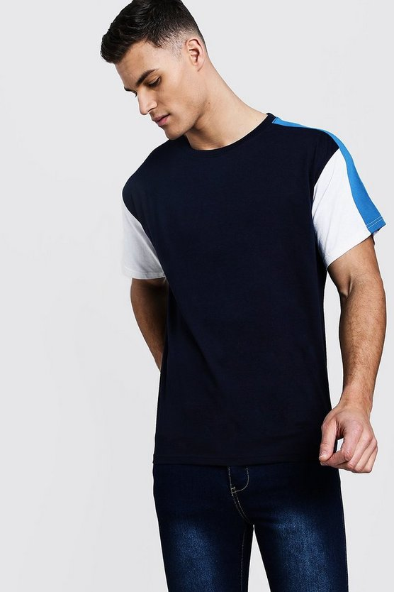 Mens Blue Colour Block Sleeve Panel Loose Fit T-Shirt