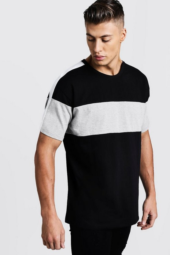 Grey Colour Block Chest And Arm Panel Loose Fit T-Shirt