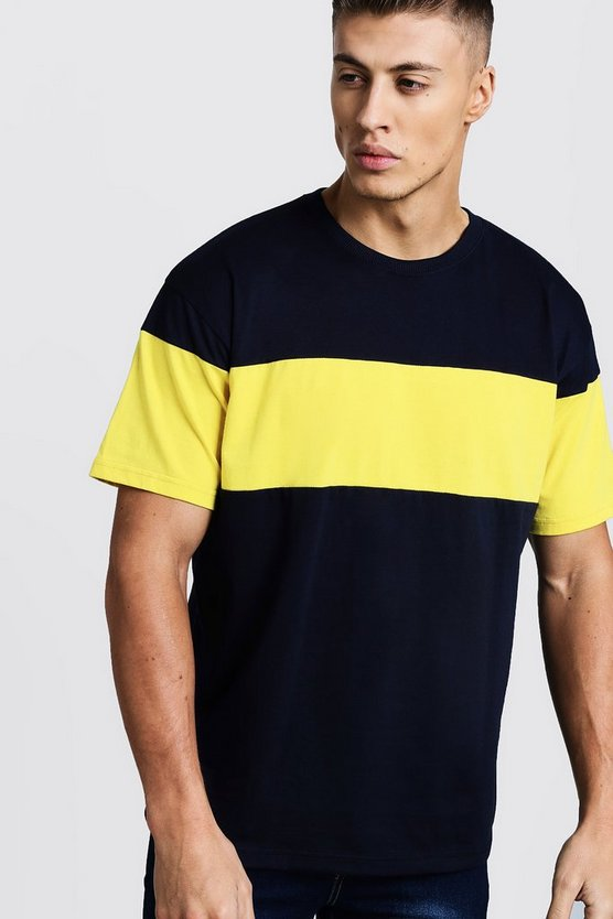 Navy Colour Block Chest Panel Loose Fit T-Shirt