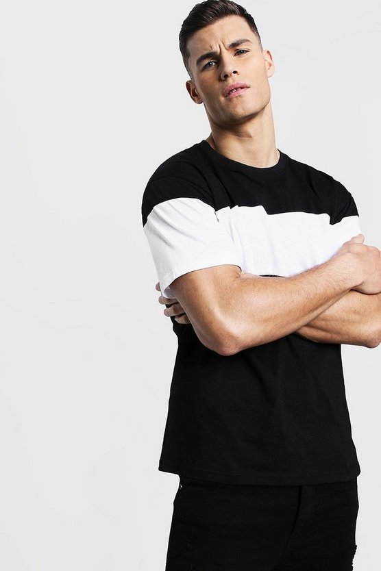 Colour Block Chest Panel Loose Fit T-Shirt