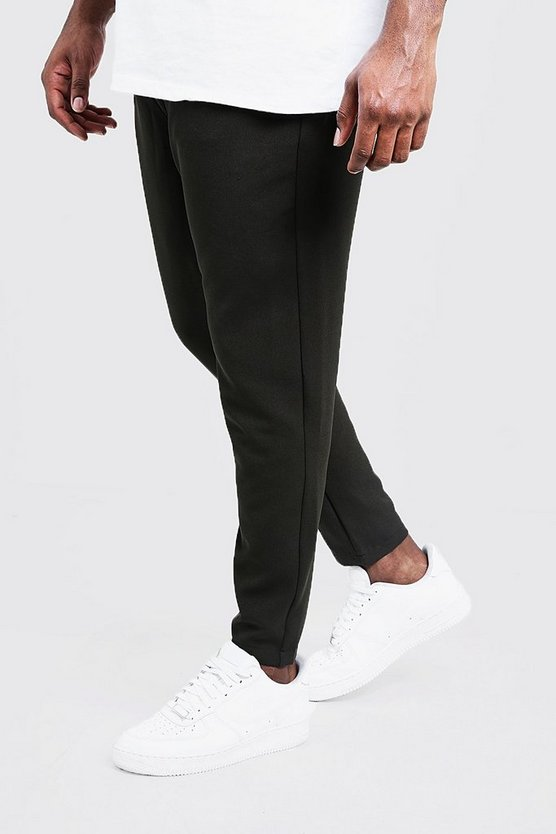 Mens Olive Big & Tall Plain Smart Jogger Trouser