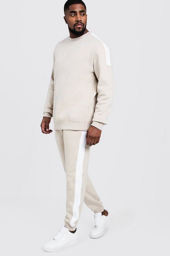 Mens Stone Big & Tall Sweater Tracksuit With Side Panels