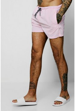 Mens Pink Pigment Dyed Mid Length Swim Short