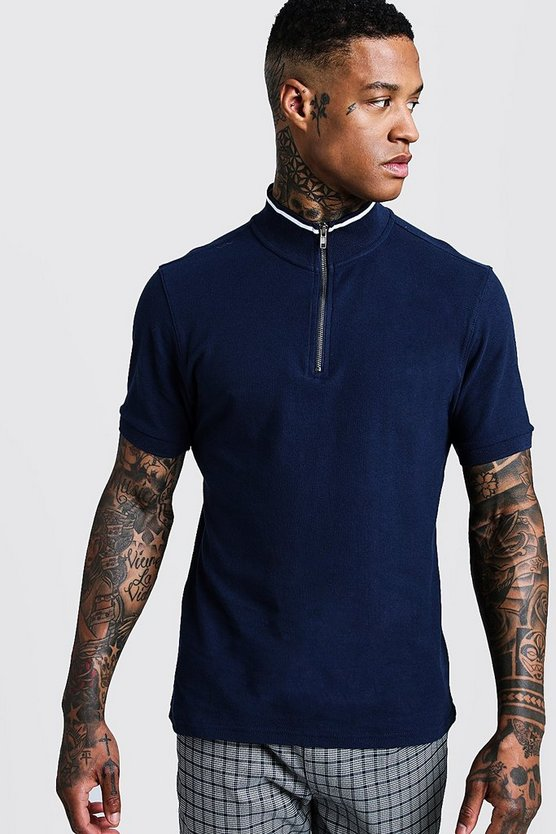 Navy Funnel Neck Zip Up Collar Polo