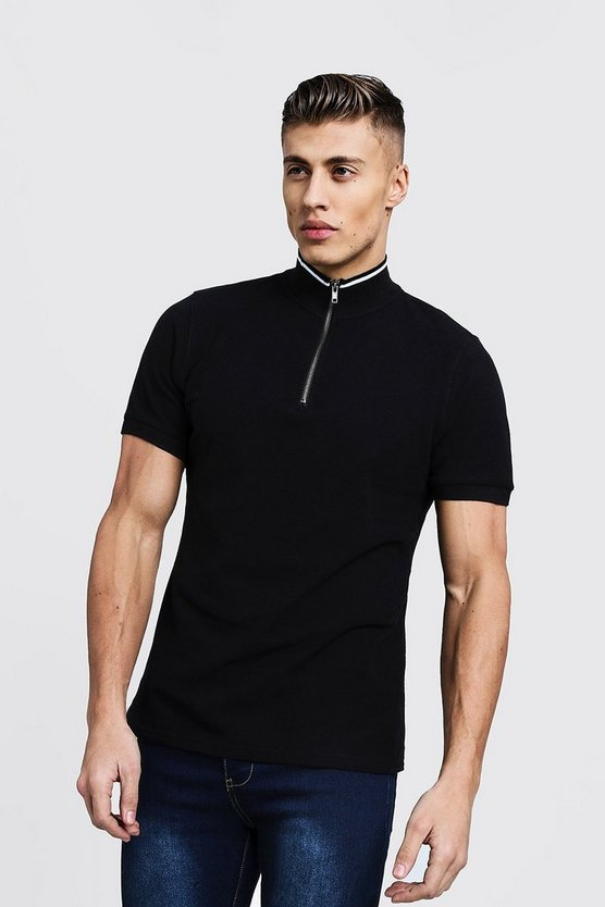 Mens Black Funnel Neck Zip Up Collar Polo