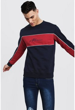 Red Colour Block MAN Signature Sweater