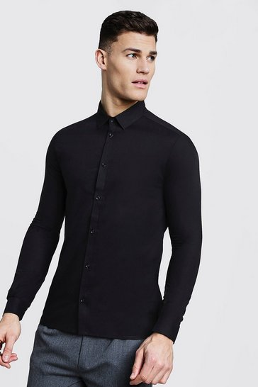 Mens Black Slim Fit Long Sleeve Smart Shirt