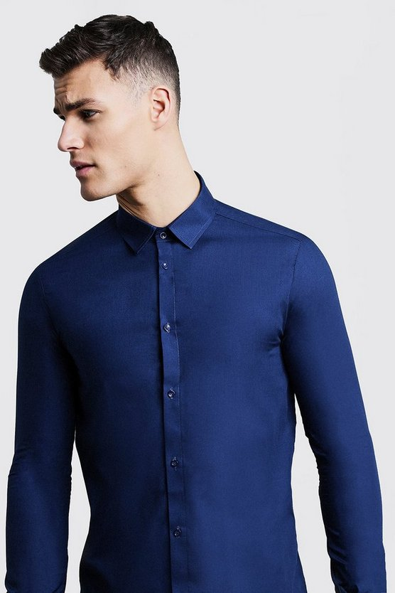 Navy Slim Fit Long Sleeve Smart Shirt