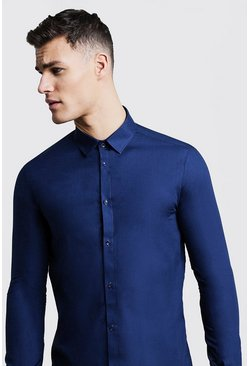 Mens Navy Slim Fit Long Sleeve Smart Shirt