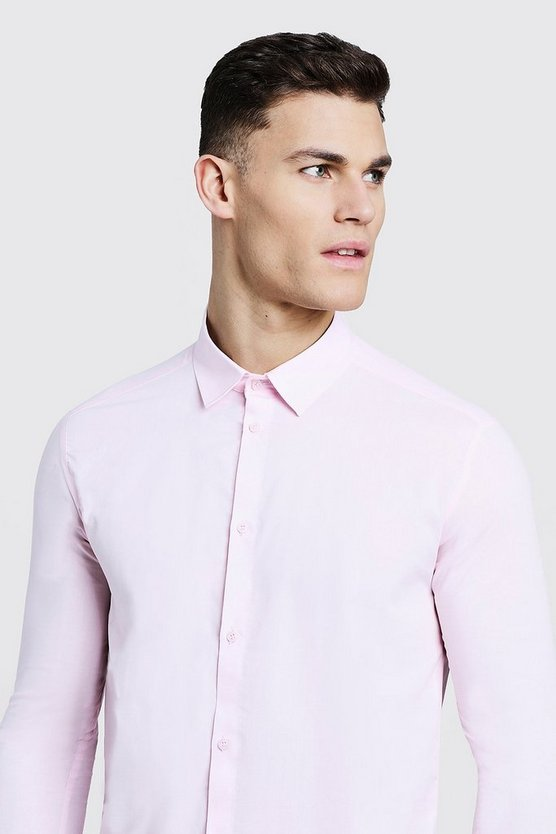 Mens Pale pink Slim Fit Long Sleeve Smart Shirt