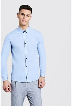 Mens Pale blue Slim Fit Long Sleeve Shirt With Contrast Buttons