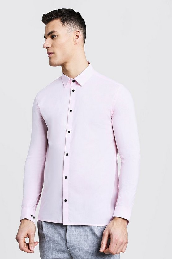 Slim Fit Long Sleeve Shirt With Contrast Buttons