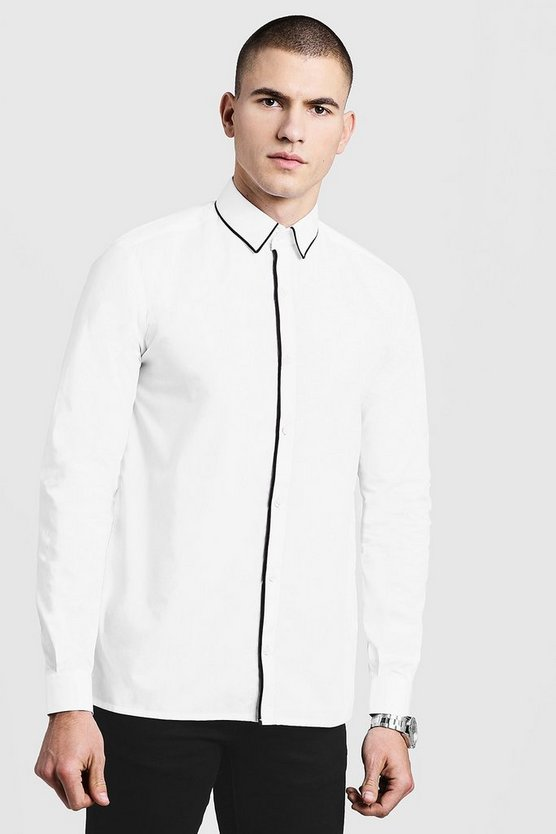 Mens White Slim Fit Long Sleeve Shirt With Piping